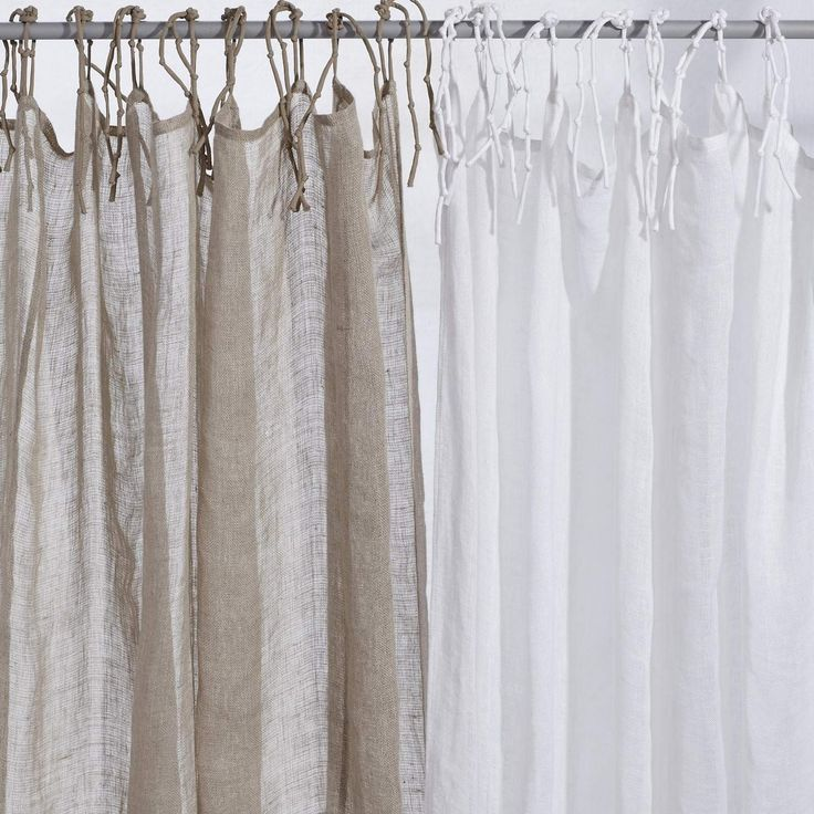 Natural or White Linen Curtains  Living room curtains - steel doors
