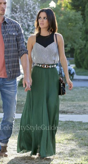 Seen on Celebrity Style Guide: Hart of Dixie Fashion: Rachel Bilson as Zoe Hart wears this cutaway silk geometric print top and Long Flowy Skirt in Green on Hart of Dixie Episode Something to Talk About Get The Look: http://rstyle.me/~1j2eT
