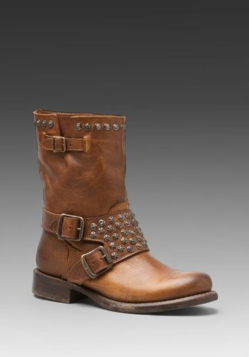 Frye Jenna Studded Short Boot in Cognac