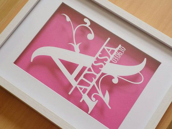 Your name papercut with date of birth in a shadow box frame