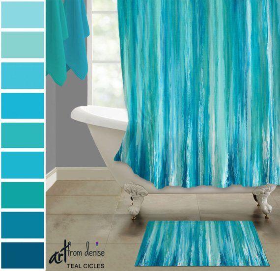 Teal Shower Curtain Bath Mat Set Abstract Fabric Modern Master