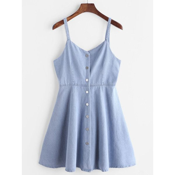 Blue Single Breasted Slip Denim Dress (305 MXN) ❤ liked on Polyvore featuring dresses, blue, short a line dresses, short denim dress, denim dress, short sleeve dress and slip dresses