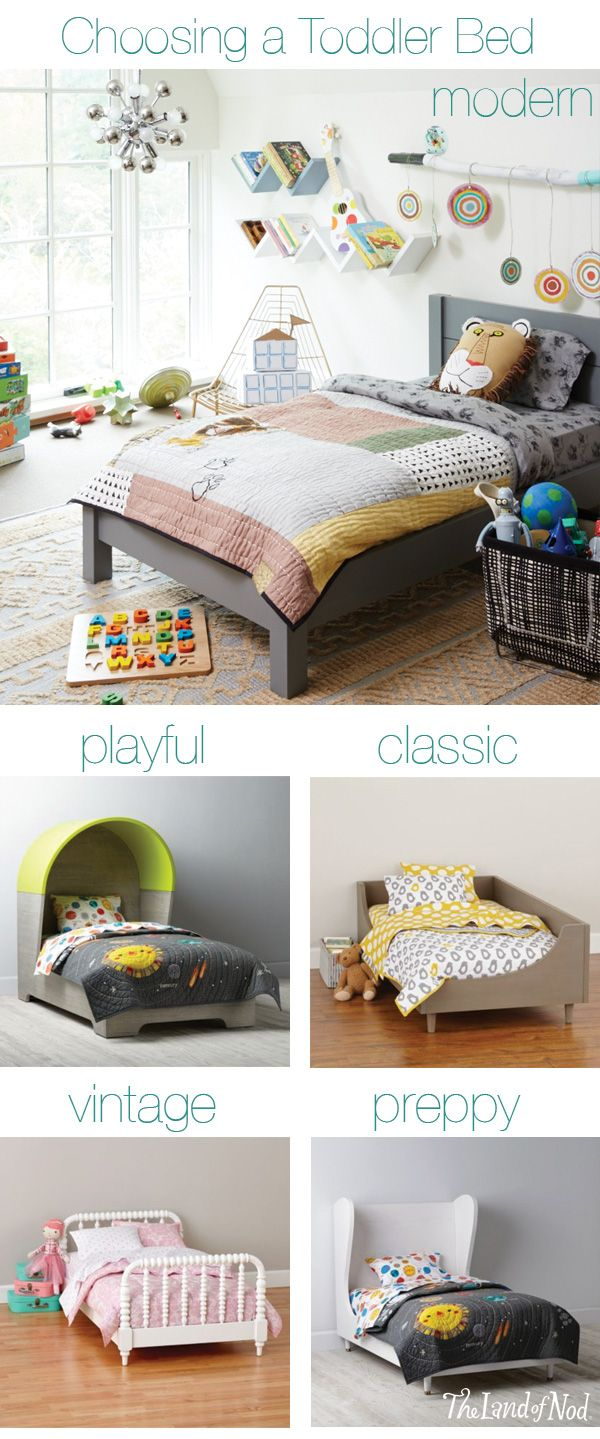 If your little one is done with the crib before they're ready for a twin size bed, a toddler bed is a great alternative. They accommodate a standard crib mattress, which means they also work with your existing crib bedding. And, they're close to the ground to make getting into and out of bed easier for your toddler. Plus, they come in a variety of designs to match your current nursery decor.
