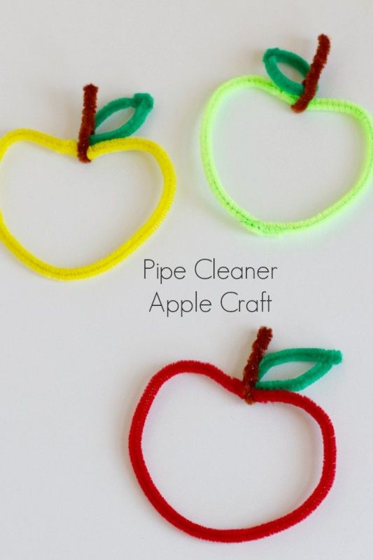 Kids Crafting Pipe Cleaner Apples #kidscraft #apples #pipecleaners