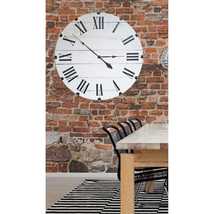 Avery Oversized White 36 Inch Classic Wall Clock (Distressed White) (Wood)