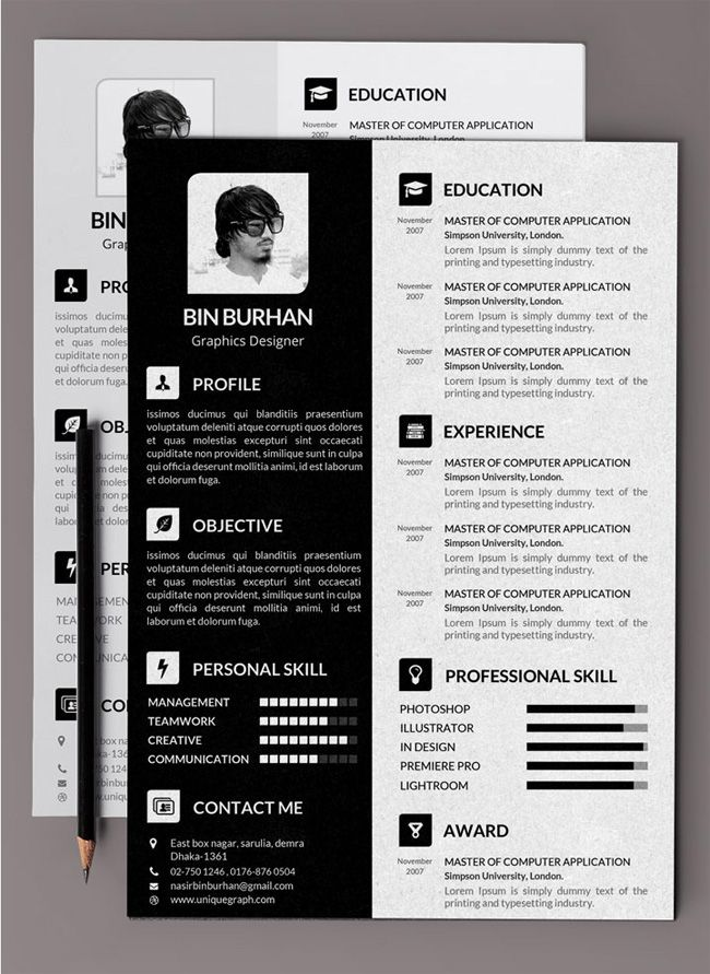 Indesign resume templates free creative resume template in psd 21 best resume collection images on pinterest curriculum resume indesign resume templates yelopaper Image collections