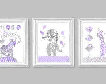 Chica vivero arte elefante vivero decoración púrpura y gris bebé habitación sala Decor bebé lienzo arte zoológico selva de decoración jirafa cebra chica