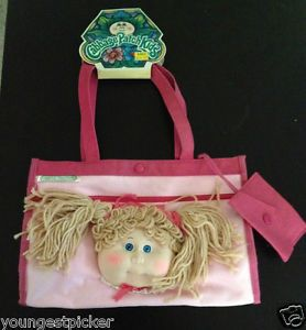 I STILL HAVE THIS PURSE but mine was definitely loved. Cabbage Patch purse. Rare 1980's Vintage Cabbage Patch Kids Doll Head Purse Tote Bag Baby