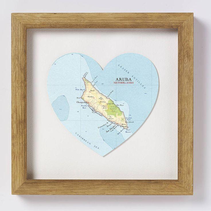 Aruba Map Heart Print Wedding Gift 91