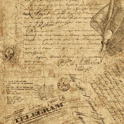 Letter Fabric - Communiqué Post Card by Graphics 45 for Wilmington Prints Q1825 85519 293 TAN - http://www.etsy.com/au/listing/158565818/letter-fabric-communique-post-card-by?ref=shop_home_active_31