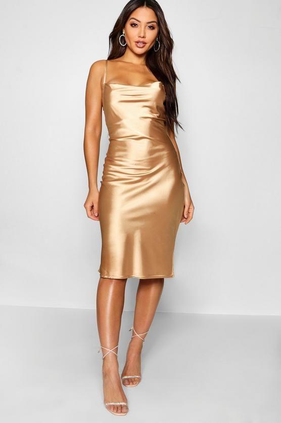 Satin Cowl Neck Midi Slip Dress Boohoo In 2019 Dresses