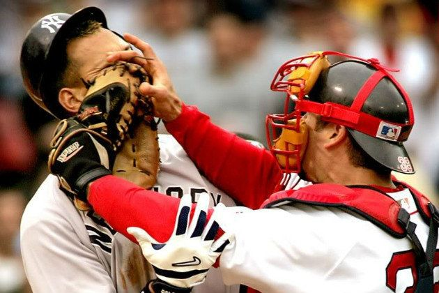 TomCaron: 10 yrs ago today, Jason Varitek shoved a mitt in A-Rod's face & helped turn a season around.