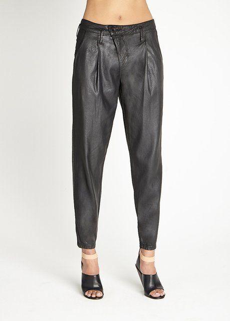 Drew Black Coated Crop Pants by DWP