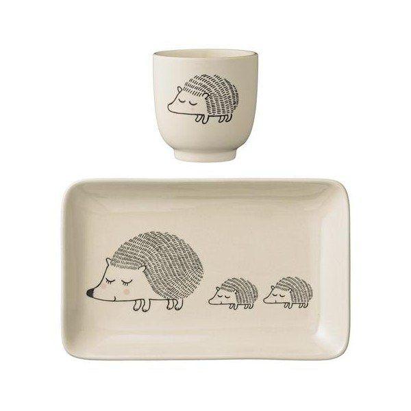Kids Plate Cup Set Hedgehog By Bloomingville Ceramic Plates Plates Plate Sets