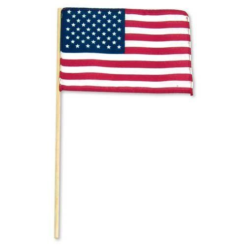 "US Stick flag 8in x 12in Economy - Wood stick no spear tip by US Flag Store. $0.45. US Made at Our Factory in Pennsylvania. Low Cost Shipping Available!. Stapled to a 24"" Wood Stick with No Tip. Flag has Cut Edges. US Stick Flag 8in x 12in. US Flag 8in x 12in suitable for parades and give always. Our Standard stick flags are the same quality you will find in the stores. They are made manufactured at our factory in Pennsylvania. The flag mounts to a 24 inch wooden stic..."