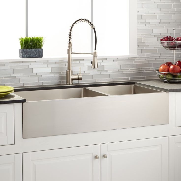 "39""+Optimum+60/40+Offset+Double-Bowl+Stainless+Steel+Farmhouse+Sink"
