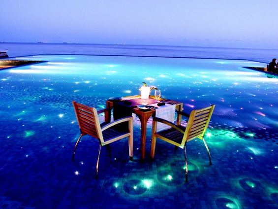 Romantic escape in the Maldives. Look at that water! From http://www.noordinaryhome.com/romantic-escape-in-the-maldives/