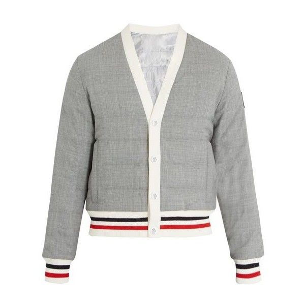 Moncler Gamme Bleu Striped-trim quilted down bomber jacket ($1,400) ❤ liked on Polyvore featuring men's fashion, men's clothing, men's outerwear, men's jackets, grey, mens grey jacket, mens quilted jacket, mens patch jacket, mens grey bomber jacket and mens quilted bomber jacket
