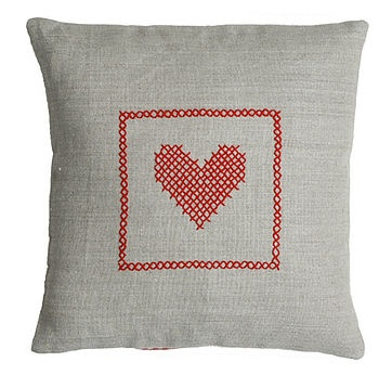 heart cross stitch pillow