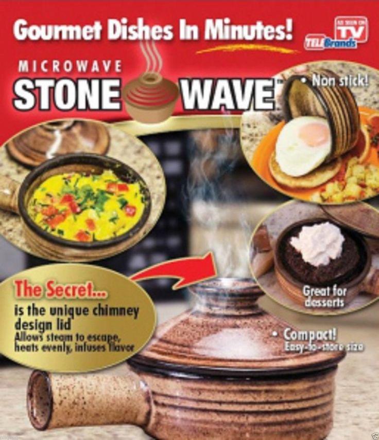 2 Stone Wave Microwave Cooker Ceramic Stoneware Baking Pan Non Stick Sseenontv