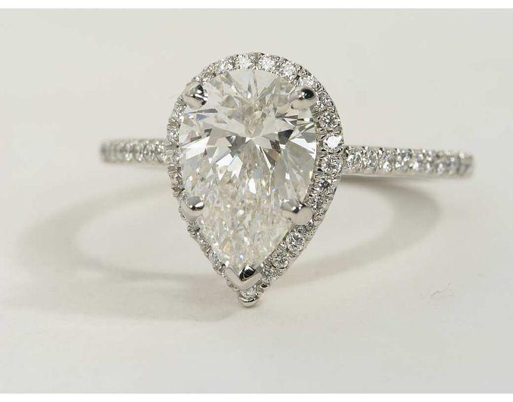 Charming Pear Shaped Halo Diamond Engagement Ring In Platinum | Halo Diamond Engagement  Ring, Halo Diamond And Engagement Design Inspirations