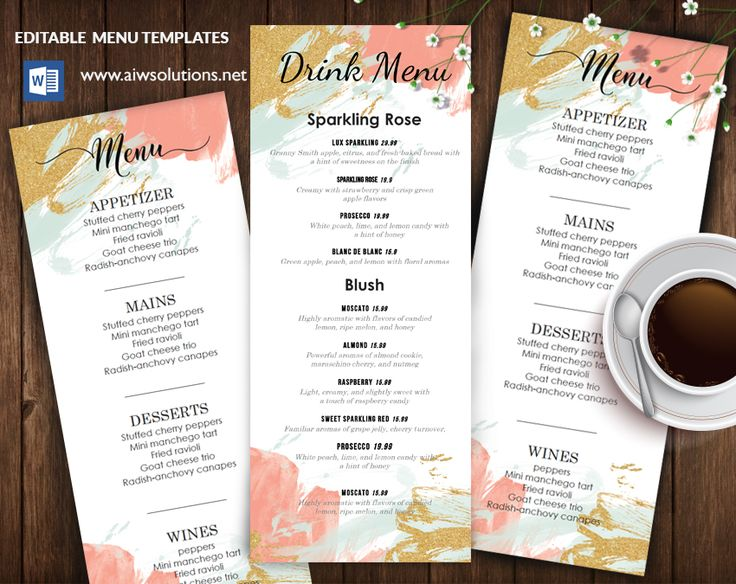 20 best Menu Templates images on Pinterest Menu templates - sample drink menu template