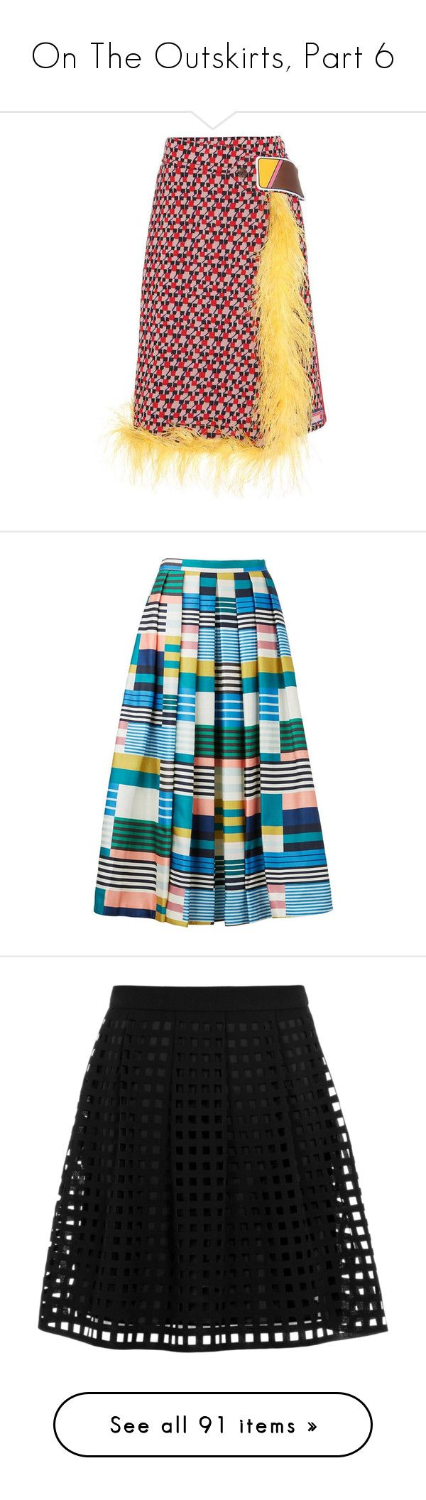 """""""On The Outskirts, Part 6"""" by happilyjynxed ❤ liked on Polyvore featuring skirts, bottoms, multicoloured, colorful skirts, prada, prada skirt, multi color skirt, multi colored skirt, full midi skirts and below knee skirts"""