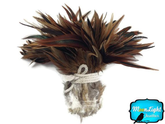 Rooster Feathers 1 Yard  NATURAL RED BADGER by MoonlightFeatherInc