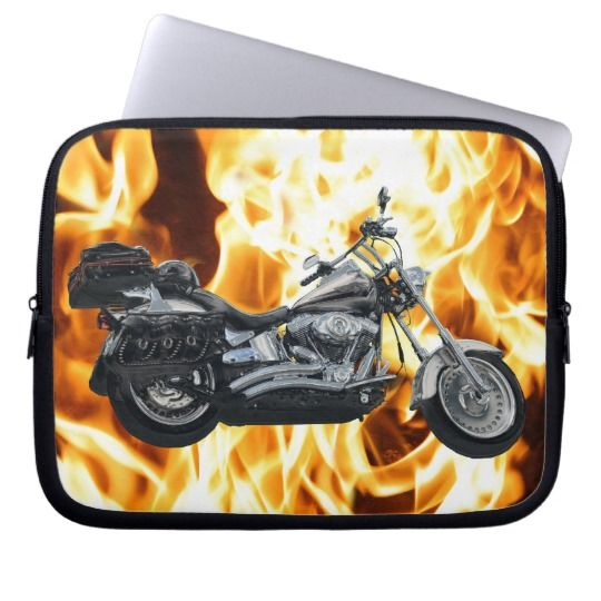 Motorbike-themed Art Gift Design Laptop Sleeve - This awesome laptop sleeve has a Harly Davidson motorbike with fire flickering in the background. This testosterone fueled sleeve looks hot on every level!