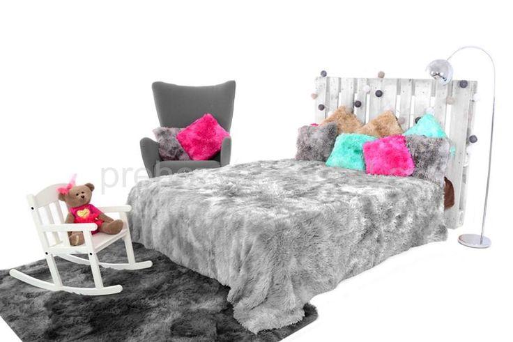 Luxusní chlupaté OMBRE deky a přehozy šedé barvy