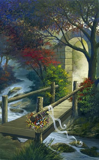 Carlos V. Pinto (©2011 artmajeur.com/carlosvpinto) Cesta de flores deixada displicente sobre a ponte a espera da bela dona.