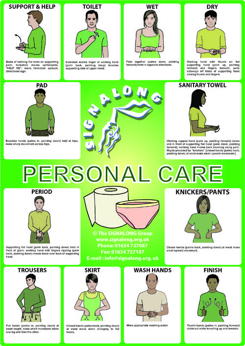 Personal Care Signs Poster - BSL (British Sign Language)