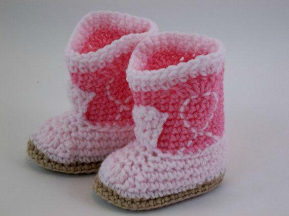 NEWBORN Crochet Baby Booties  Rose & Pink by TwentySecondStreet, $18.00
