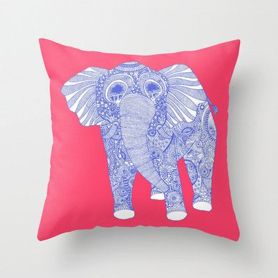 Ornate Elephant Pillow / Elephant Pillows / Pink Baby Girl Pillow / Double Sided Throw Pillow - Faux Down Insert - Illustrated Pillow Cover