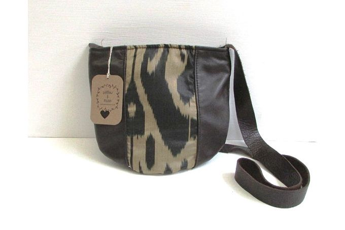 handwoven silk and leather panelled handbag by Willow and Muse Bags