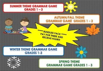 PAY FOR THREE AND GET FOUR!!! THIS DOWNLOAD IS A BUNDLE OF MY FOUR SEASON GAMES. Having fun while learning! These four games are specifically aimed at Grades 1 - 3 and students under support to develop common grammar understandings in a fun way, but it also depends on individual abilities. The game is great for Work Stations, Early Finishers and a great resource for the Relief / Substitute / Temp Teacher. Grammar Covered: Adjectives, Verbs, Rhyming Words, Vowels, Nouns