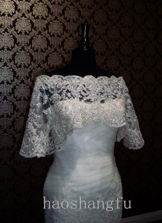 White Ivory Vintage Lace Bateau Sequin Wedding Jacket Bridal Wrap Shrug Bolero #BolerosShrugs