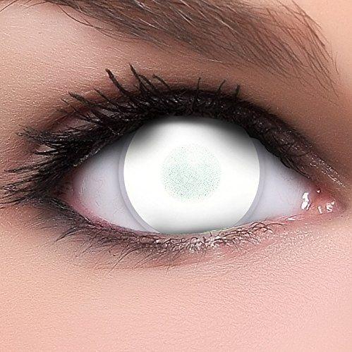 Linsenfinder Dead Zombie Kontaktlinsen weiß 60% Sehvermögen +Kombilösung +Behälter ohne Stärke weiße Fun Crazy farbige Linsen perfekt zu Halloween und Karneval