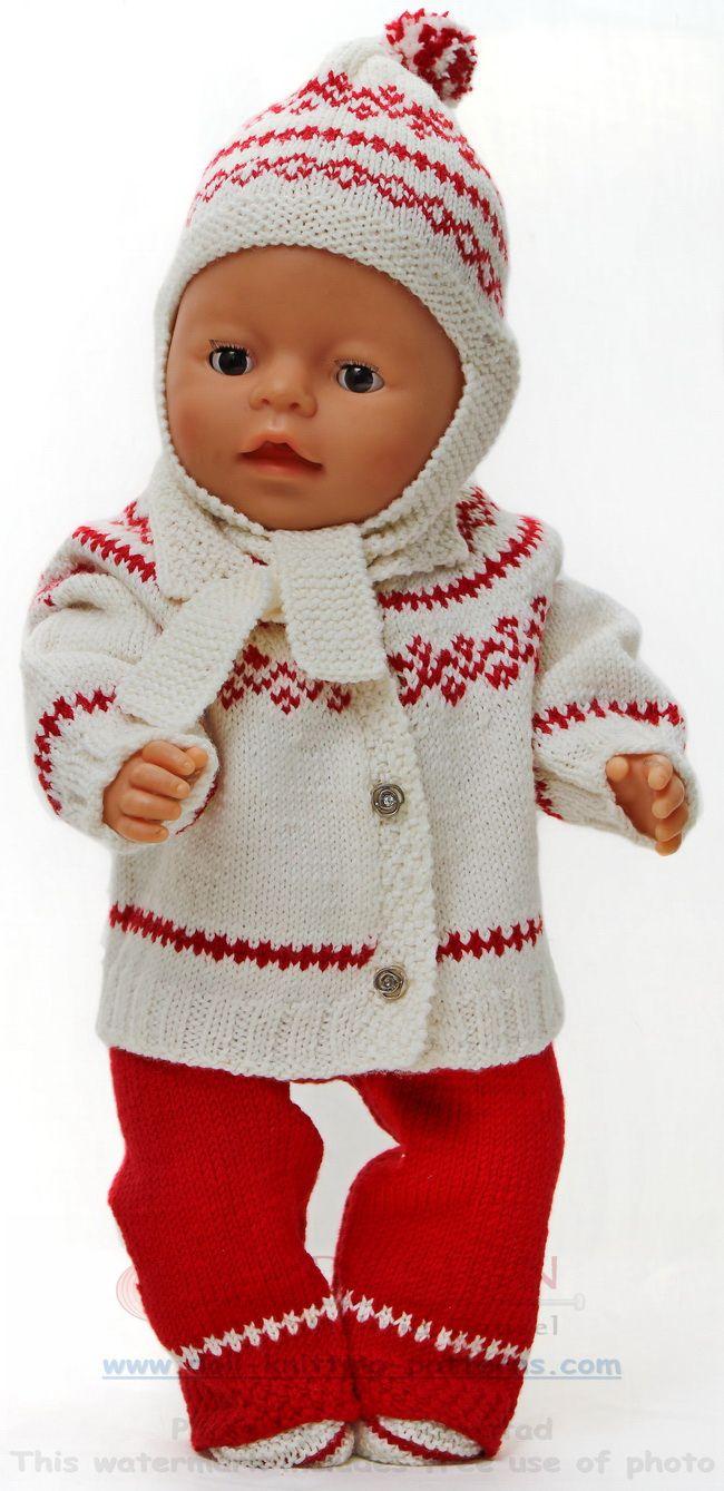Målfrid Gausel design strikkeoppskrifter dukkeklær for baby born- alle dukkers drømmenettsted