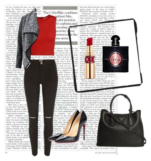Little bit lipstick by marieck-1 on Polyvore featuring polyvore, fashion, style, Alice + Olivia, River Island, Christian Louboutin, Prada and Yves Saint Laurent