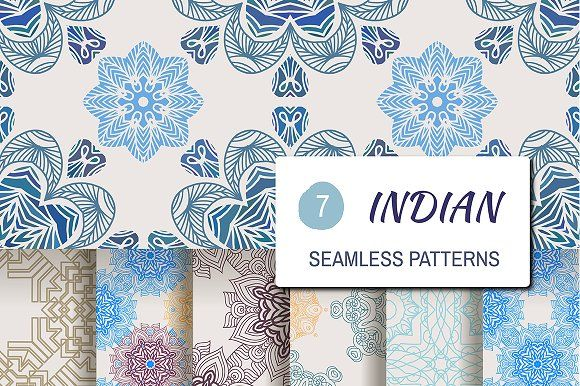 7 indian seamless patterns by TATIANA_GERICH on @creativemarket