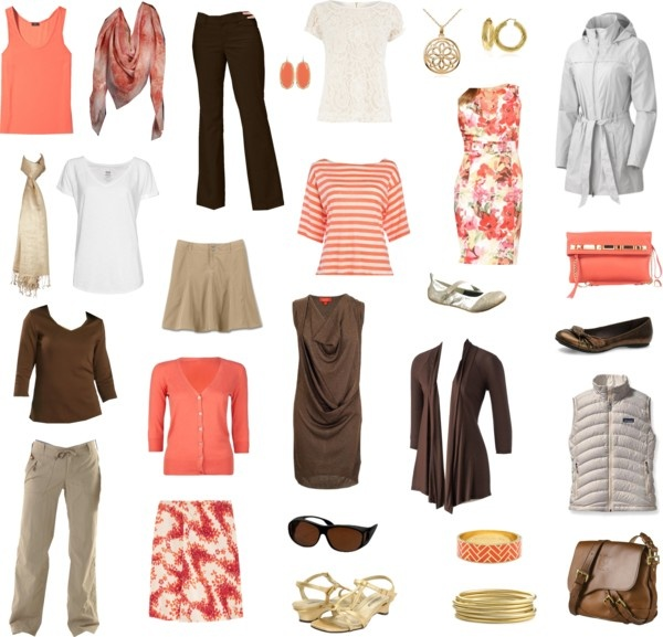capsule wardrobe idea peach brown tan cream capsule