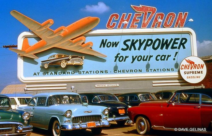 Chevron Gas Billboard Sign 1955 Buick 1955 Chevrolet