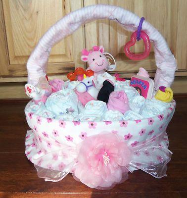 Baby Girl Diaper Cake Basket Baby Diaper Cakes Bibs