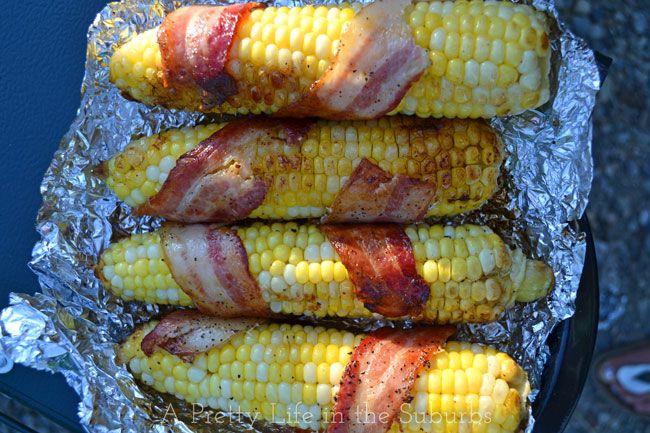 Easy & Delicious Camping Recipes Love the corn on the cob +bacon!