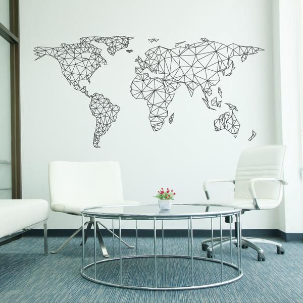 World Map Network Wall Sticker | Adesivo de Mapa-Múndi | Decor | Design |