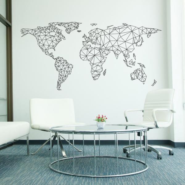 World Map Network Wall Sticker