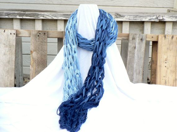 Arm Knit Ombre Style Scarf by WarmButterfly on Etsy