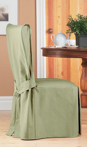 Duck Sage Long Dining Chair Slipcover with Bow. Smooth, cotton slipcover in light green. Upholstery for home renovation. Home decor. Chic interior design