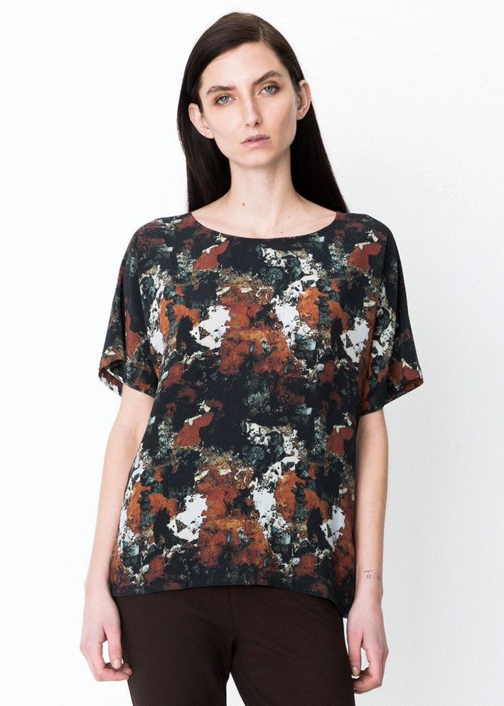 Storm & Marie Bluse print 22085 Wall Short Sleeve All over print - ginger bread – Acorns